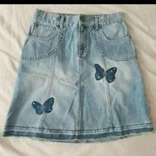 Bundle Denim Skirt, Lace top, Boho cover up and Jumper short