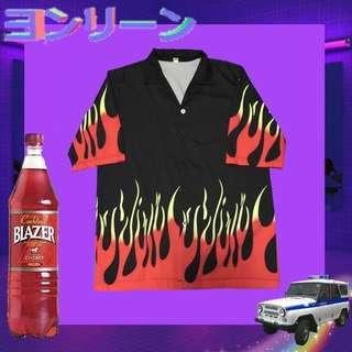 🚚 🚧INS🔥黑紅火焰襯衫🏁