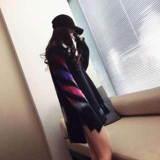 🚚 Minimei追加款✪韓系韓版歐美風英倫風百搭休閒 chic漸變寬鬆毛衣女個性拼接中長款針織衫