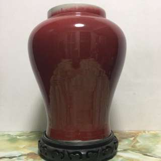 Chinese Large Red Glazed Porcelain Vase