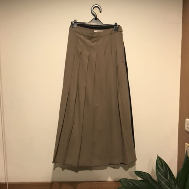2143芥末咖啡綠色百摺裙