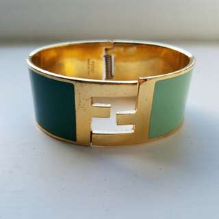 FENDI two tone green and gold FF logo cuff bangle