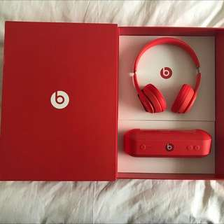 Beats Solo Wireless Headphone+ Beats Pill Special Box Set(Product) Red