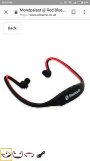 Mondpalast @ Red Bluetooth Sport Handsfree Headset for Sports Running Hiking Jogging
