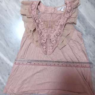 Dustty Pink Sleeveless Lacey Top