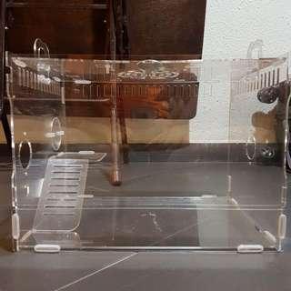 Big Acrylic Hamster Cage (Free Big Hamster Wheel)