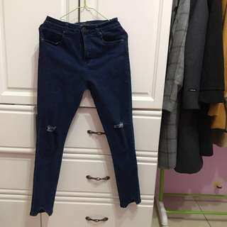 Pazzo顯瘦深色高腰牛仔褲