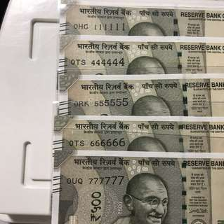Unc 0 prefix Solid Number  new indian 500 Notes