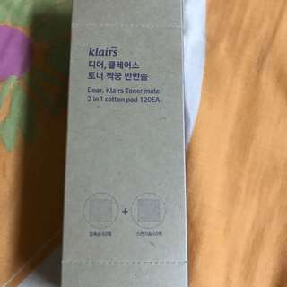 Dear klairs toner mate 2 in 1 cotton pads