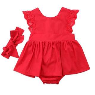 Angel sleeve Red romper Dress with matching Headband