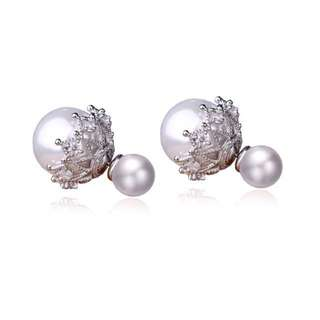 BEAUTIFUL PEARL STUD EARRINGS WITH CZ STONES