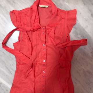 Body&Soul Orange Sleeveless Shirt Kemeja Lengen Pendek
