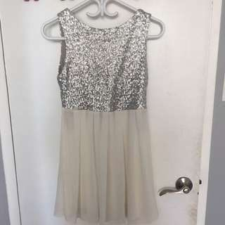 Silver Sequin Chiffon Dress
