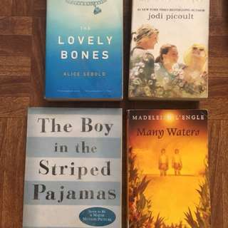 Lovely Bones, Many Waters, My sister's keeper, The boy in the striped pajamas