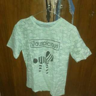 T - Shirt Lace Mint Green Preloved