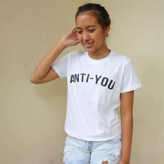 "Kaos TUMBLR TEE "" Anti You "" Murah Warna Putih / Kaos cewe murah"
