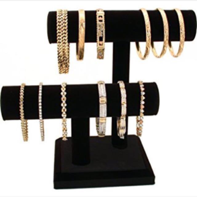 2 tier black velvet jewellery stand