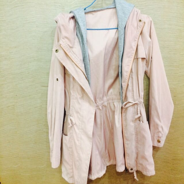 全新💜粉嫩色假兩件風衣