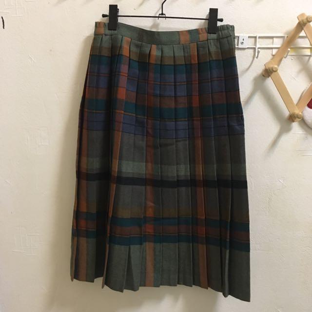格紋百褶裙/古著長裙