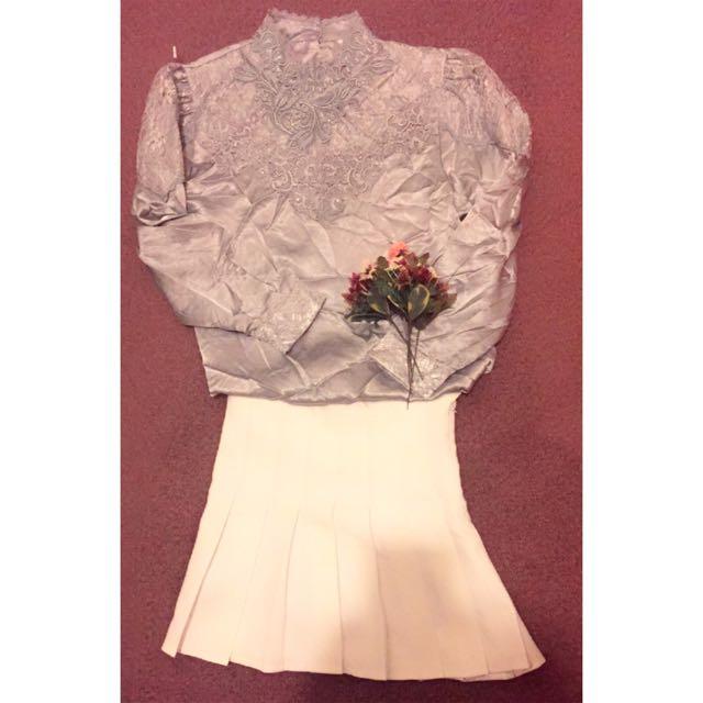 藍灰色宮廷風蕾絲雕花襯衫(復古、古著風)