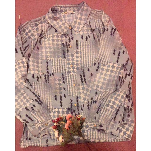 日本製-藍色千鳥格紋襯衫(復古、古著風)