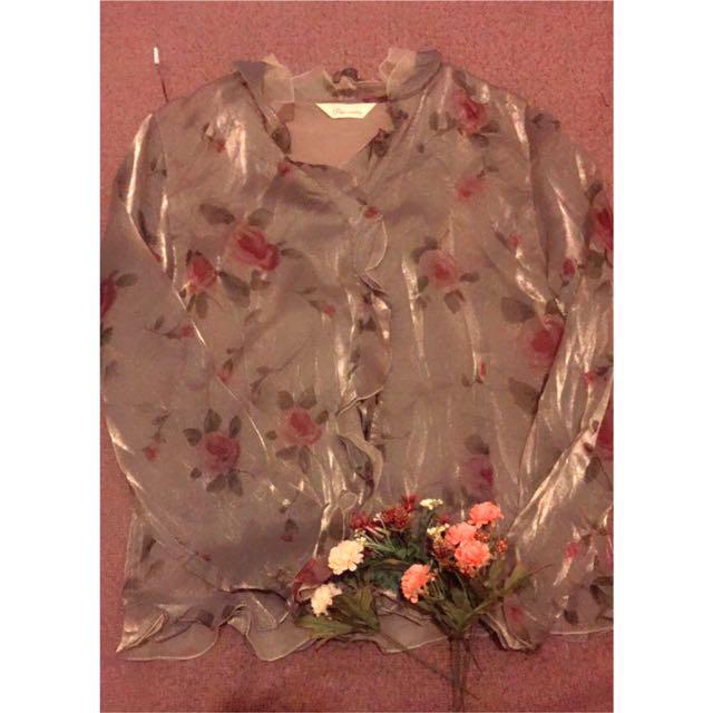 玫瑰圖案上衣(古著、復古風)