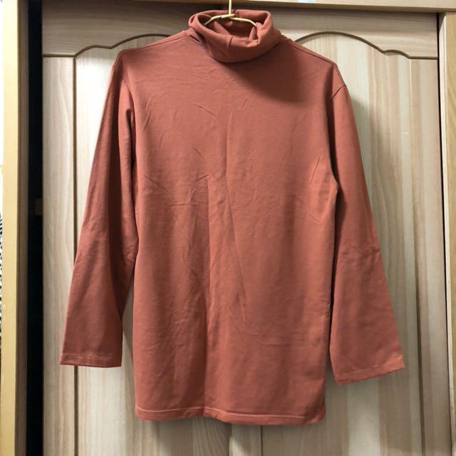 小資女孩👧溫暖橘高領棉質彈性上衣#冬季衣櫃出清