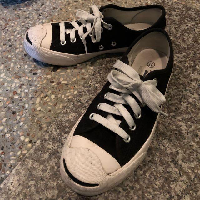 韓版開口笑帆布鞋