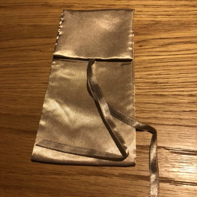 全新雅詩蘭黛香檳金色收納袋筆袋刷具包