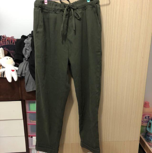 韓 墨綠寬鬆西裝休閒褲