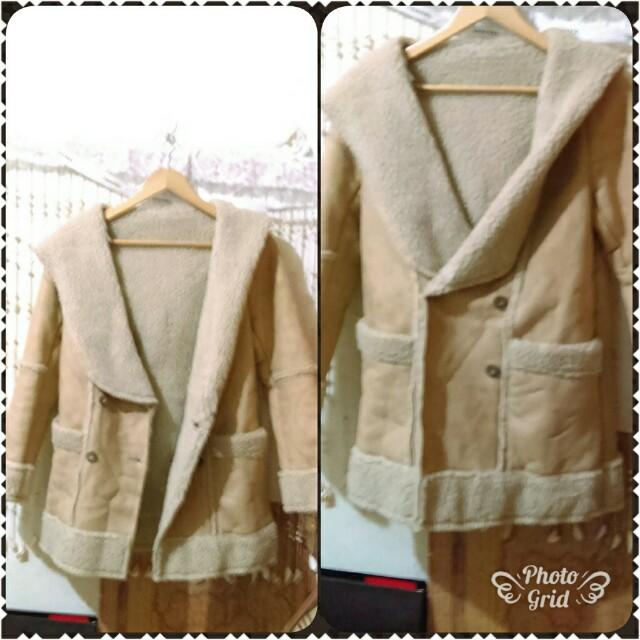 降價正韓國商品 鹿皮刷毛加厚外套 中長版大衣