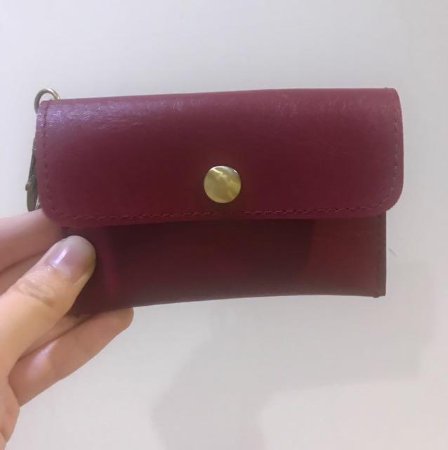 牛皮零錢包 卡夾包 鑰匙包 酒紅色