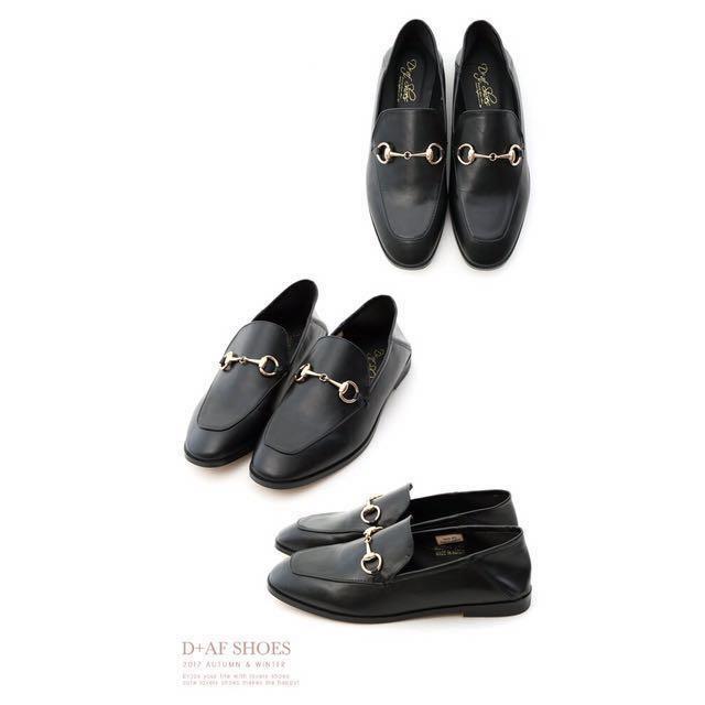 懶人鞋 韓國 拖鞋 D+AF 馬銜釦後踩式二穿紳士便鞋