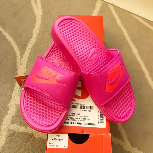 美國購回 全新NIKE 桃色 可愛拖鞋 特價6號36