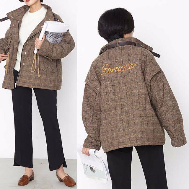 淘寶 Studiofun 格紋鋪棉外套