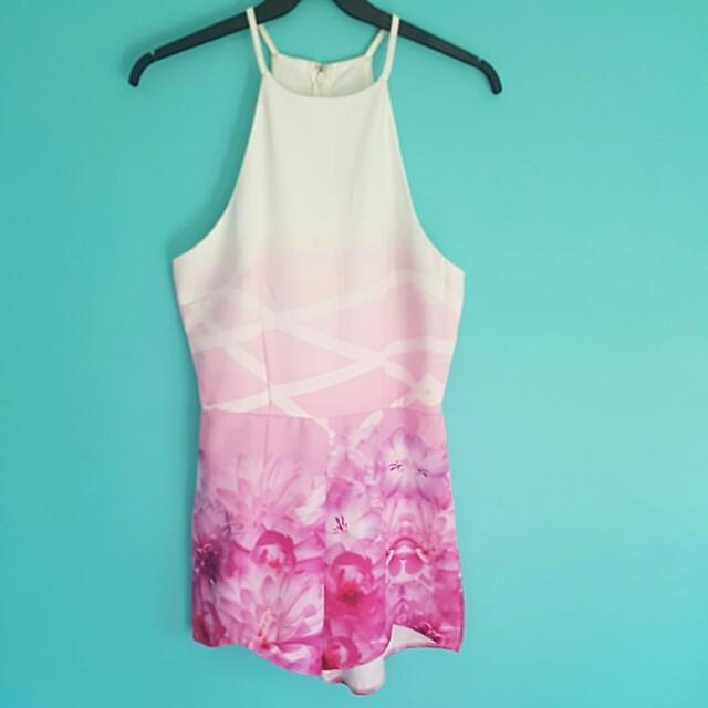 Ally Pink Floral High Neck Jumpsuit