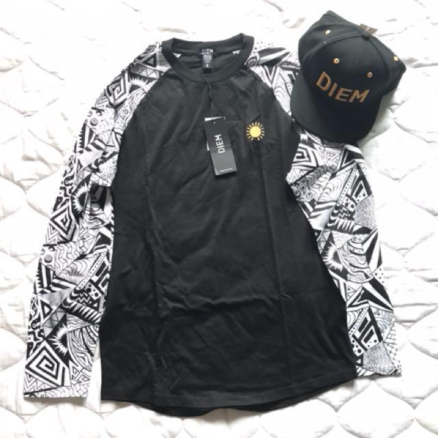 American brand DIEM satu set topi dan baju