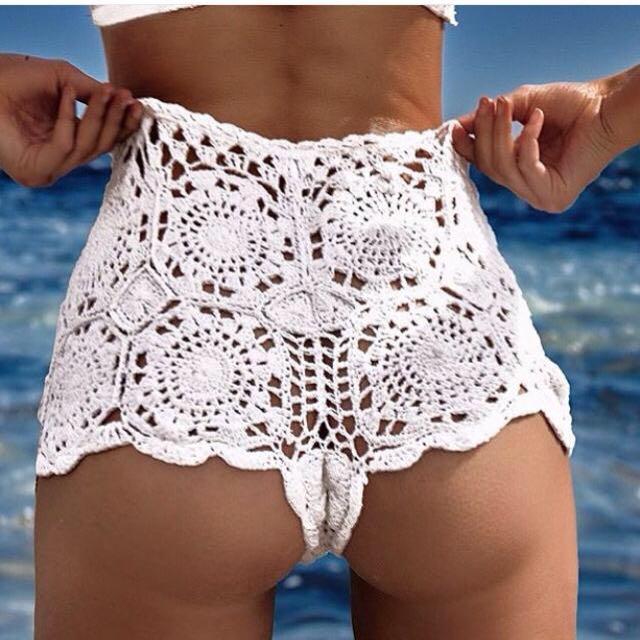 Andi Bagus Crochet White Festival Shorts