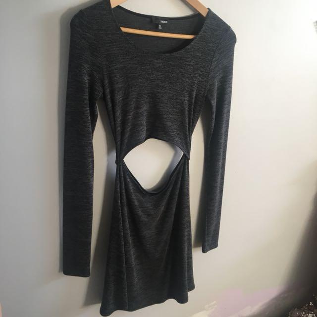 Aritzia Wilfred long sleeve cut out dress grey