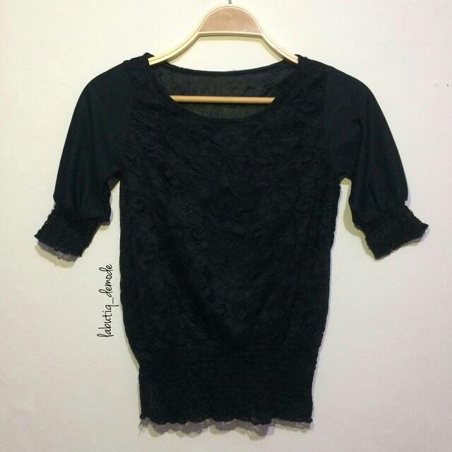 Atasan Black knit korean