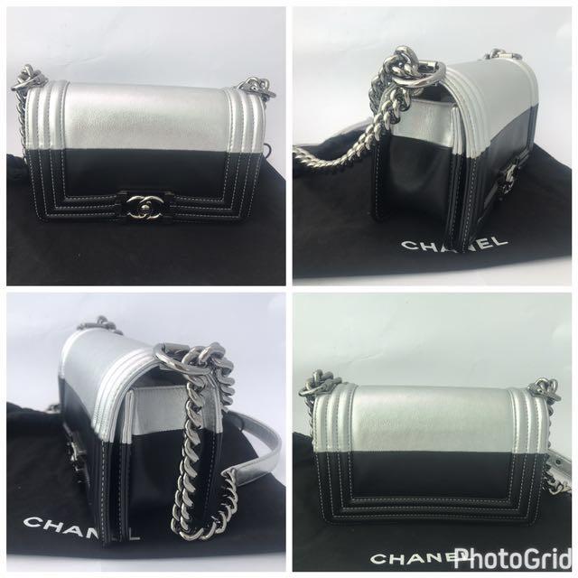 Authentic CHANEL Bi Colour Small BOY Flap Bag