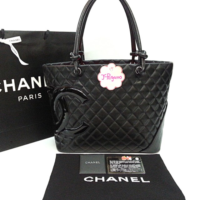 authentic chanel cambon line quilted lambskin black with black pantent cc large shopping tote. Black Bedroom Furniture Sets. Home Design Ideas