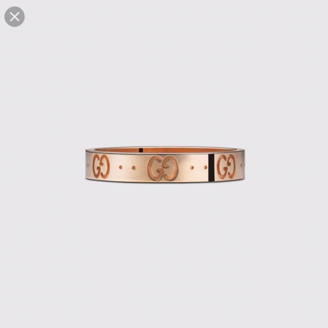 Authentic Gucci Icon Thin Band 18K Rose Gold Ring