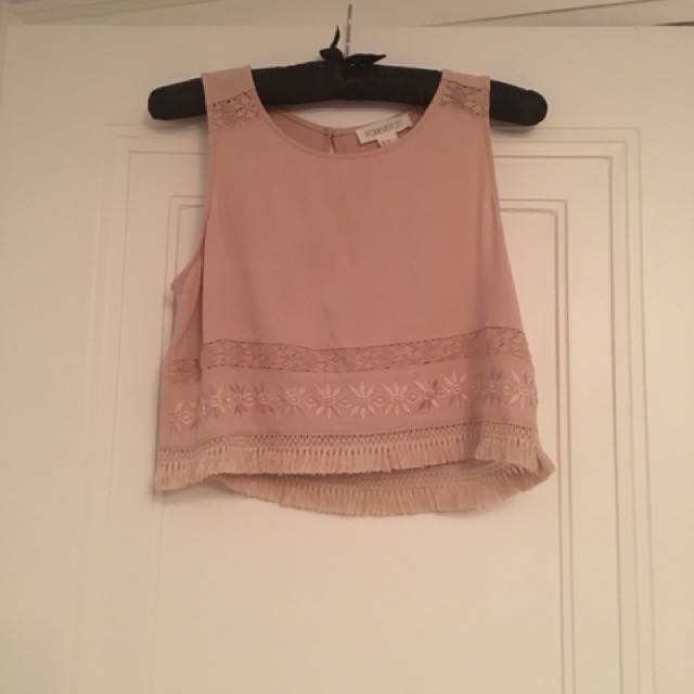 Beige Forever 21 cropped tank top