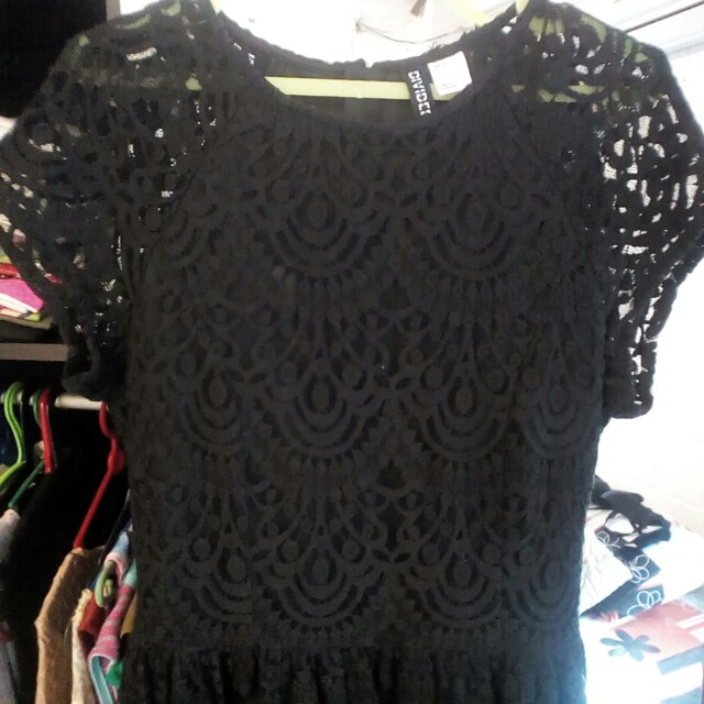 Black Dress Brukat by H & M