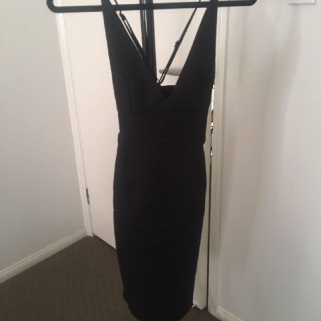 Black V midi dress