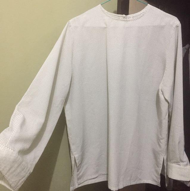 Blouse putih polkadot fit xl