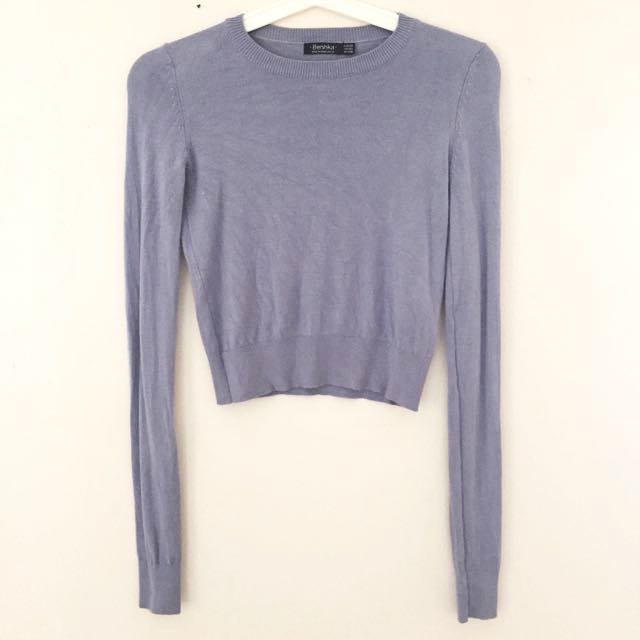 BLUE Bershka Cropped Viscose Jumper