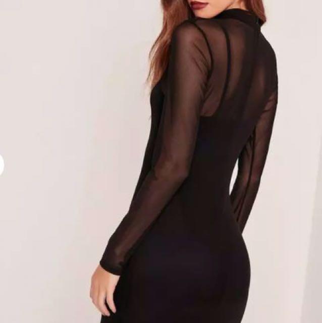 BNWT Missguided Black Mesh Overlay Dress size 4 petite