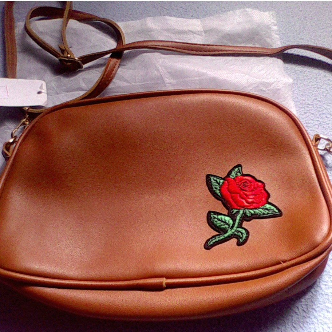 Brown Sling Bag with flower patch